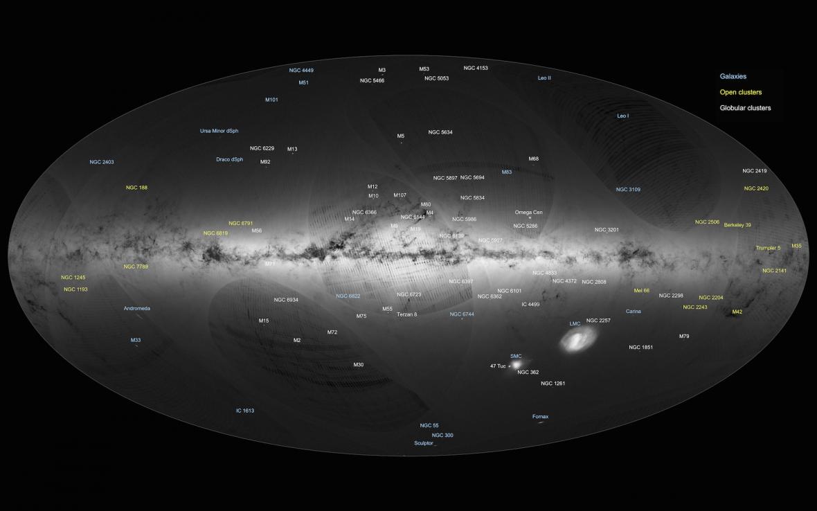 Popsaná mapa Mléčné dráhy