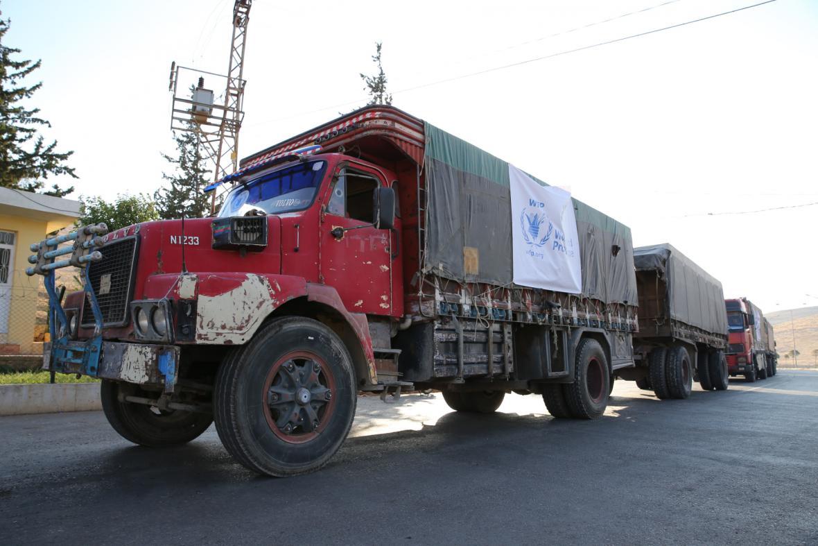 Humanitární konvoj mířící do Aleppa