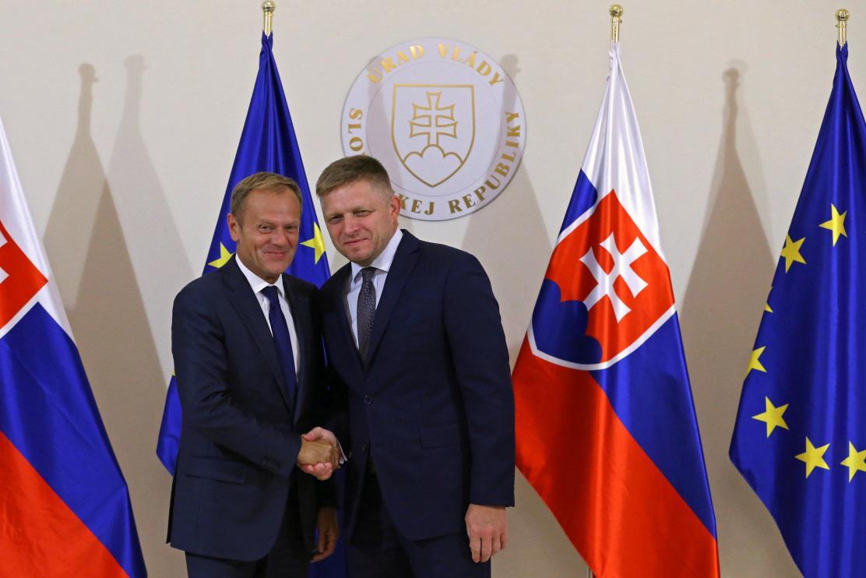 Donald Tusk a Robert Fico před summitem v Bratislavě