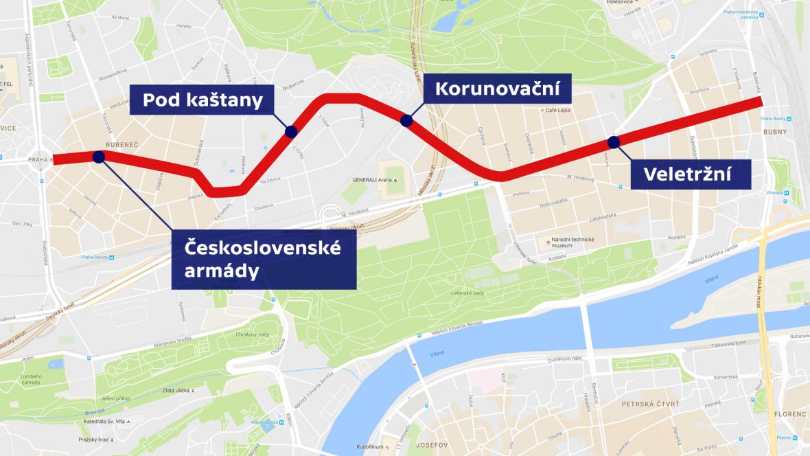 Československé armády – Pod kaštany – Korunovační –Veletržní