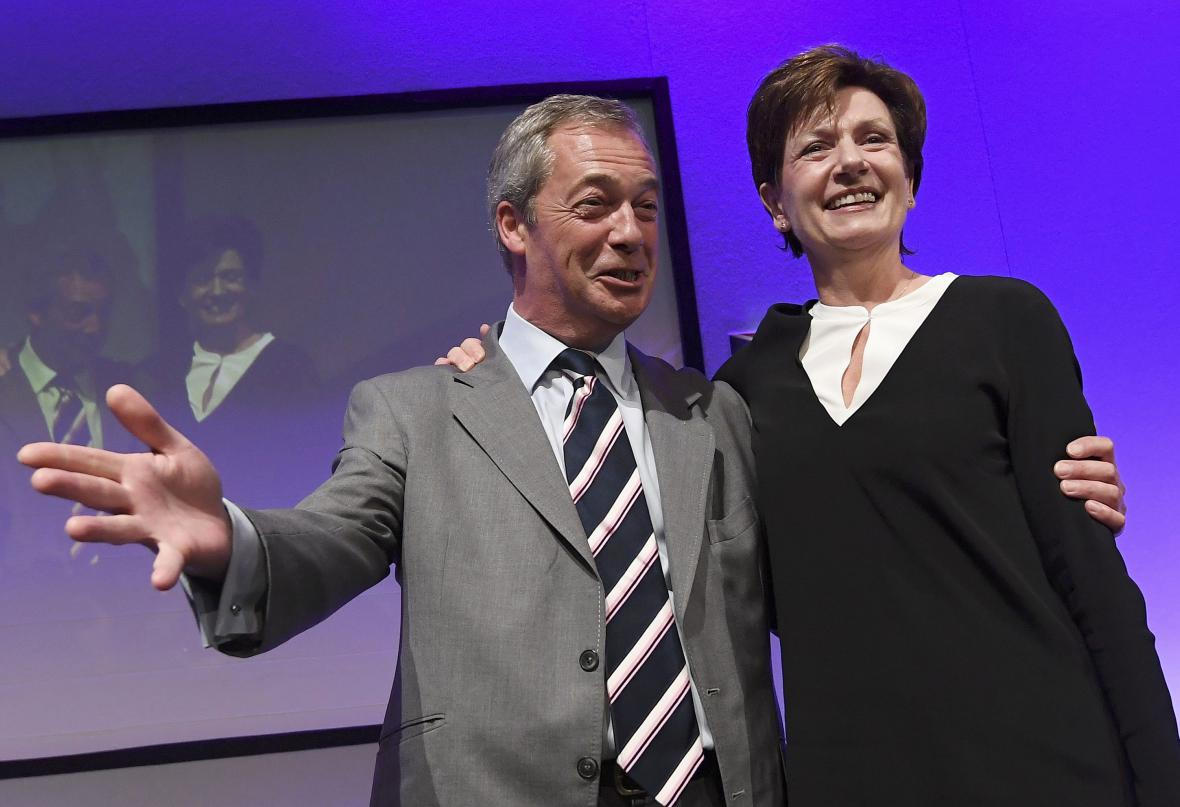 Nigele Farage a Diane Jamesová