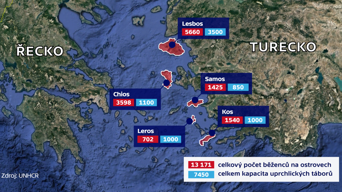 Běženci na řeckých ostrovech