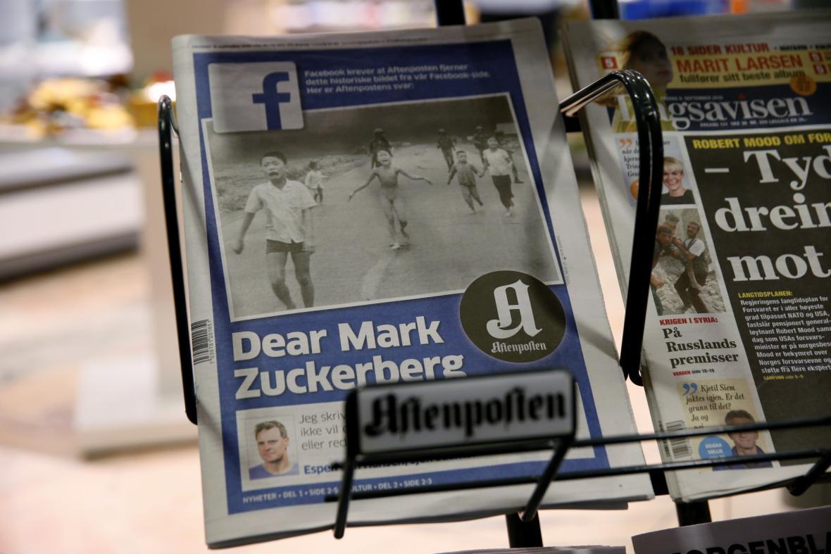 Vydání Aftenposten s otevřeným dopisem pro Zuckerberga