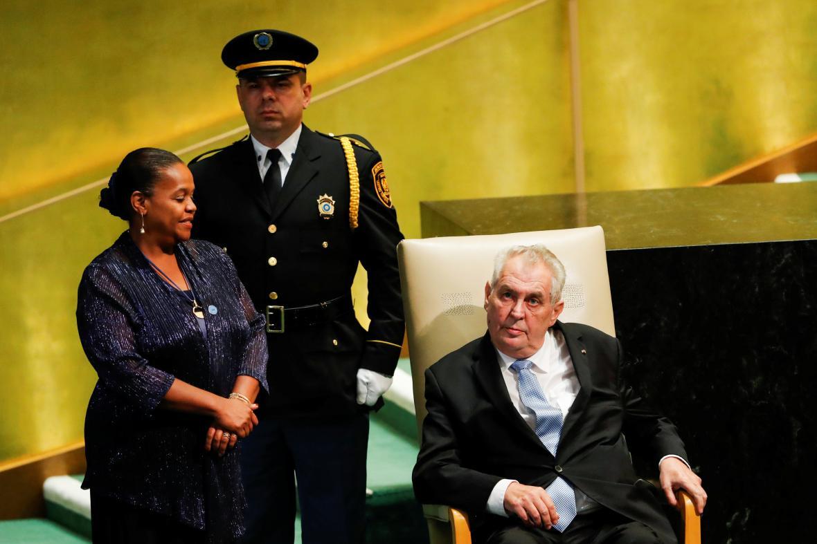 Miloš Zeman na půdě Valného shromáždění OSN