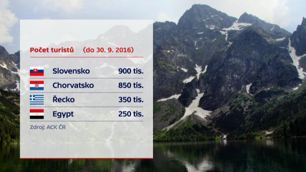 Čeští turisté v roce 2016