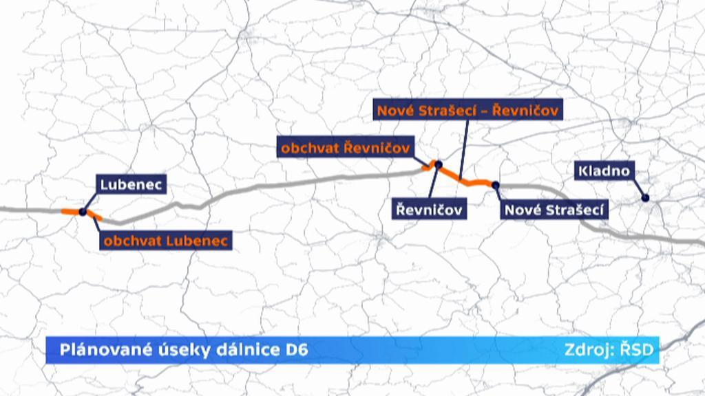 Plánované úseky dálnice D6