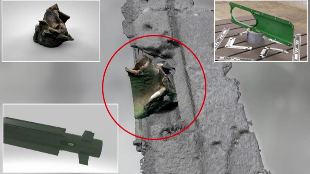 V rámu jednoho z okének objevený úlomek, který podle vyšetřování pochází z rakety systému Buk