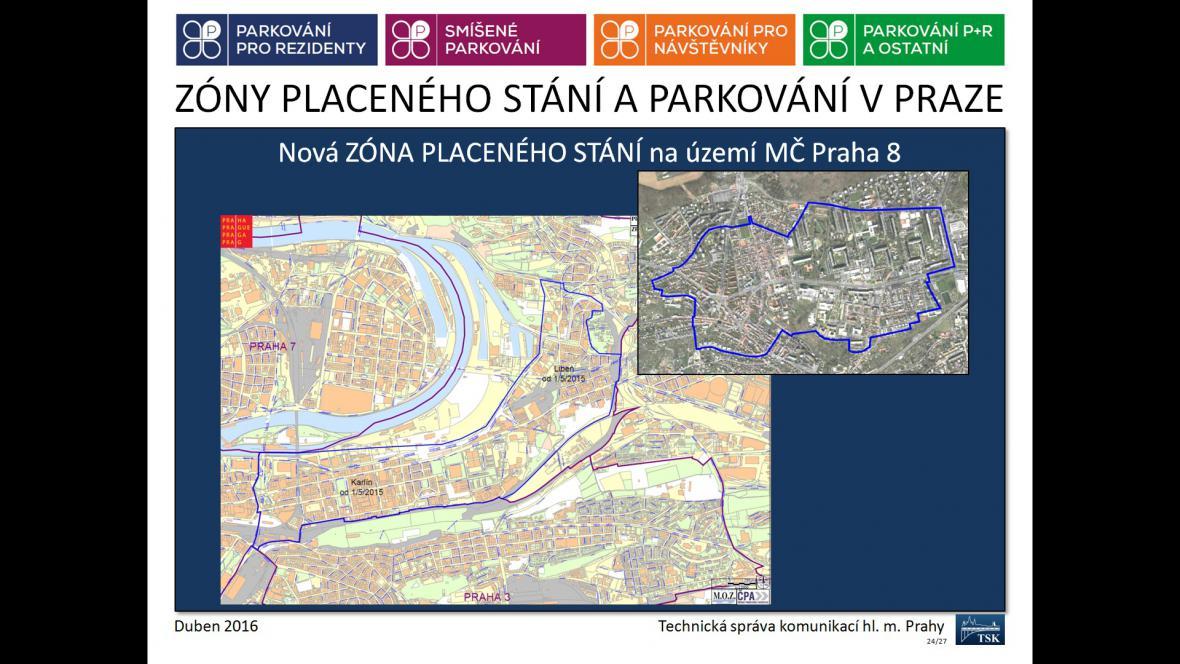 Zóny placeného stání a parkování v Praze 8