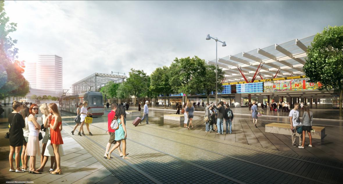 Nejzdařilejší územní studie ve variantě nádraží u řeky od Sdružení Koleček - Jura, architekti Lausanne - Brno