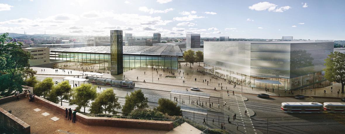 Vítězný soutěžní návrh ve variantě nádraží pod Petrovem od UNIT architekti, s.r.o.