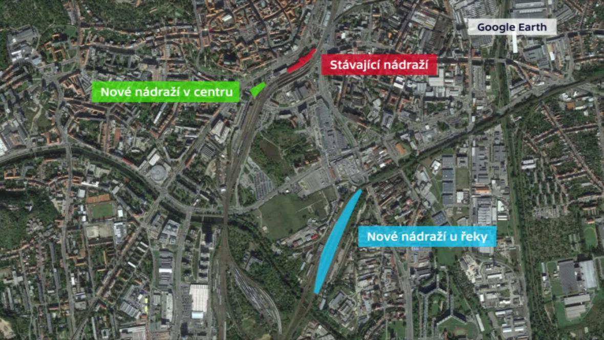 Možné změny polohy nádraží