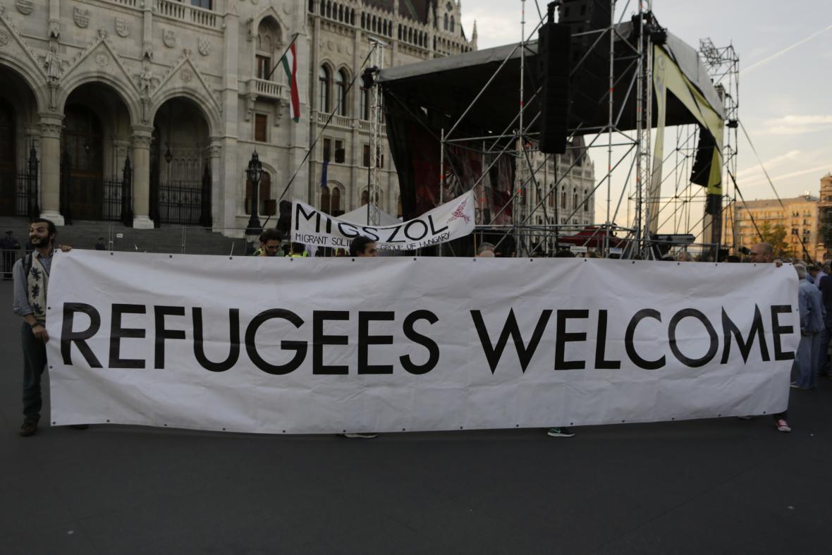 Protest proti maďarskému referendu