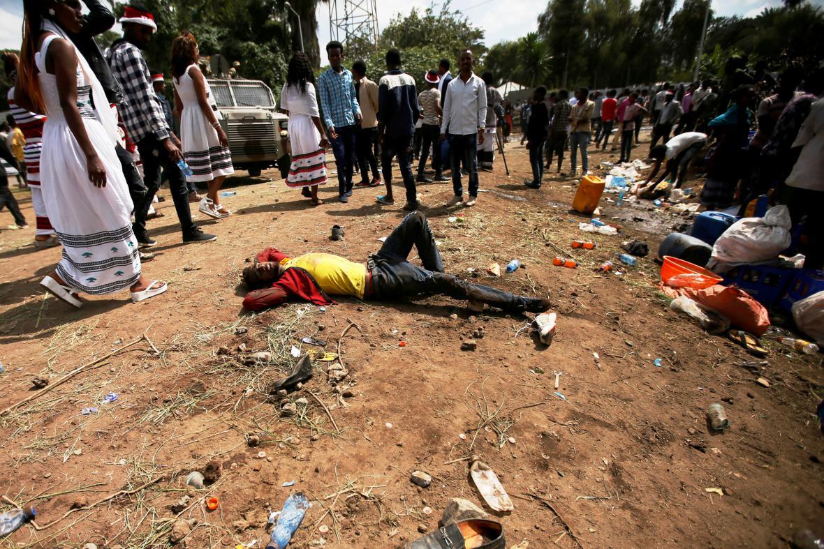 Následky protivládní demonstrace v Etiopii