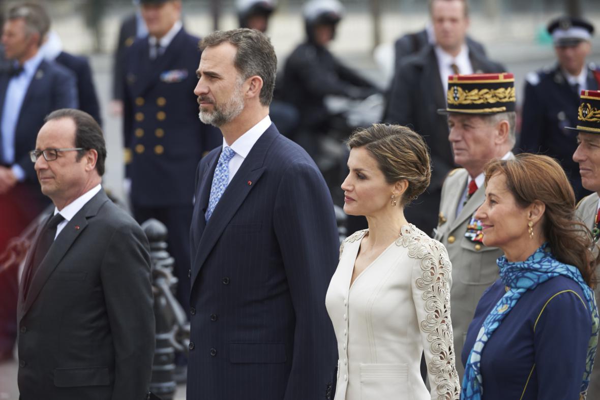 François Hollande a Ségolène Royalová se španělským královským párem v Paříži (2015)