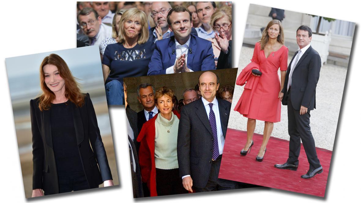 Manželky možných prezidentských kandidátů: Carla Bruni-Sarkozyová, Isabelle Juppéová, Brigitte Macronová, Anne Gravoinová