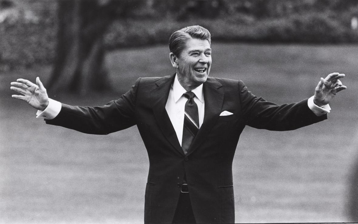Ronald Reagan na zahradě Bílého domu