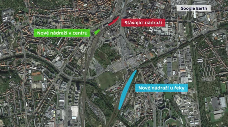 Tři polohy hlavního nádraží v Brně