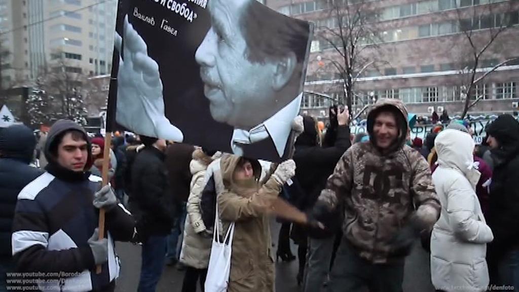 Plakáty s Havlem se objevovaly na demonstracích ruské opozice
