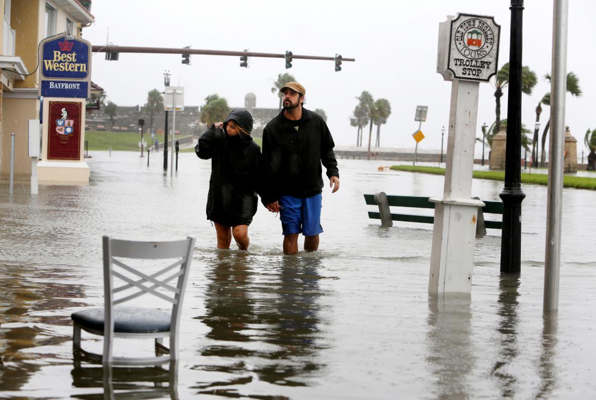 Zaplavené město St. Augustine na Floridě
