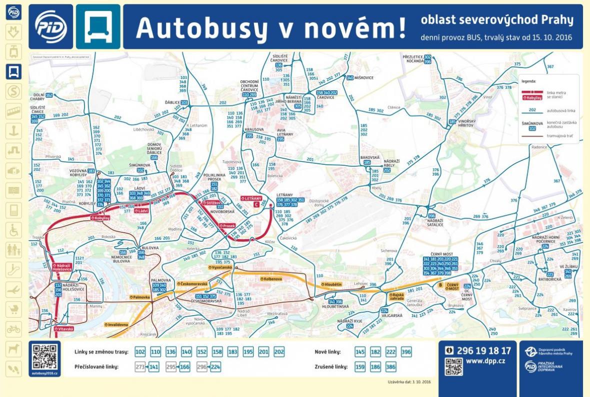 Nové autobusové schéma pro severovýchod Prahy