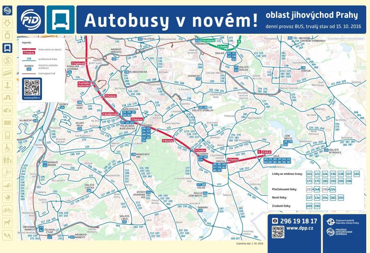 Nové autobusové schéma pro jihovýchod Prahy