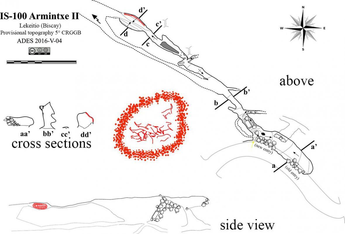 Mapa jeskyně Armintxe