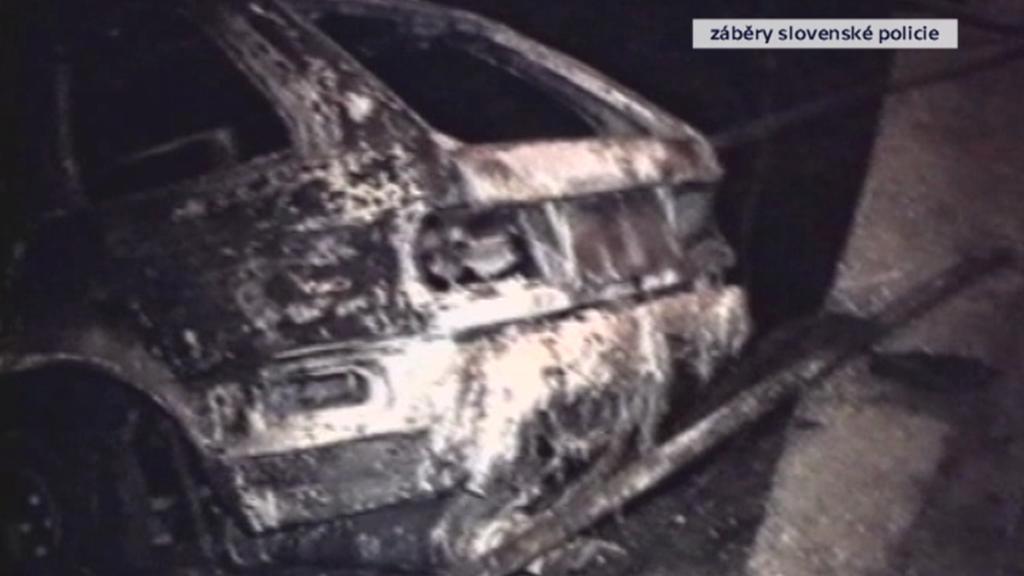 Vůz Roberta Remiáše zničený výbuchem