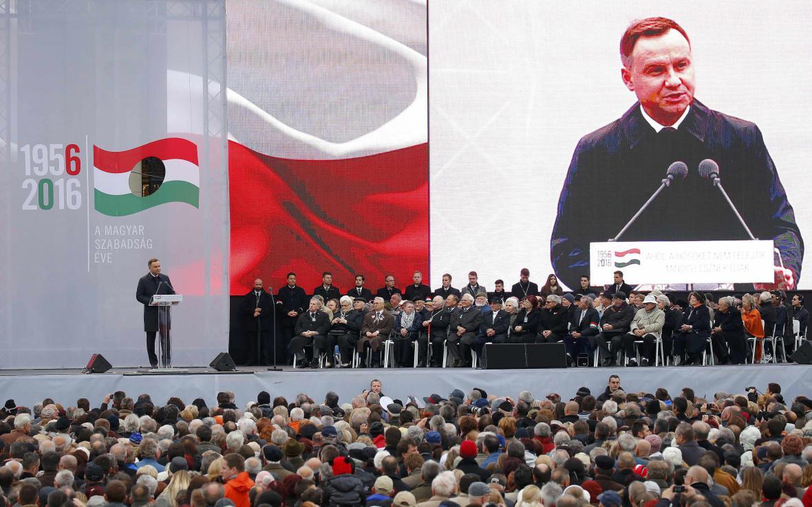 Polský prezident Andrzej Duda na ceremonii v Budapešti