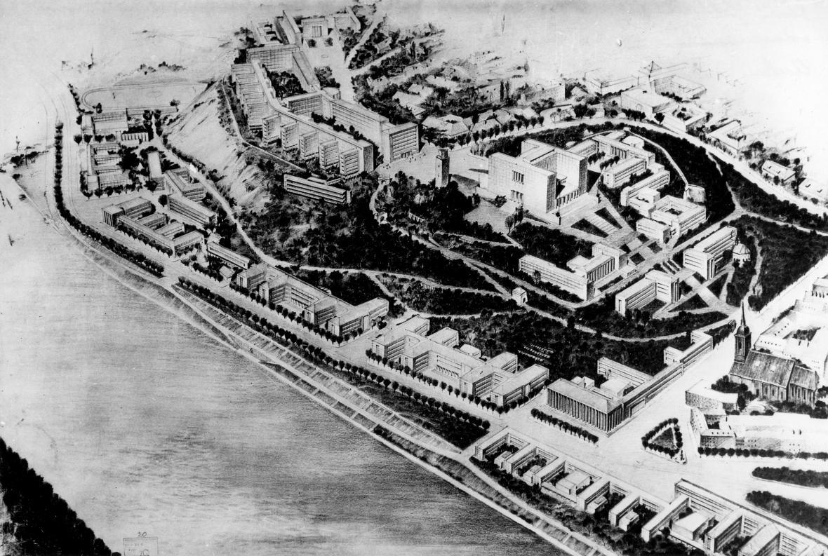 Ernesto B. La Padula – Attilio La Padula / Soutěžní návrh na Univerzitní město v Bratislavě, 1940-41