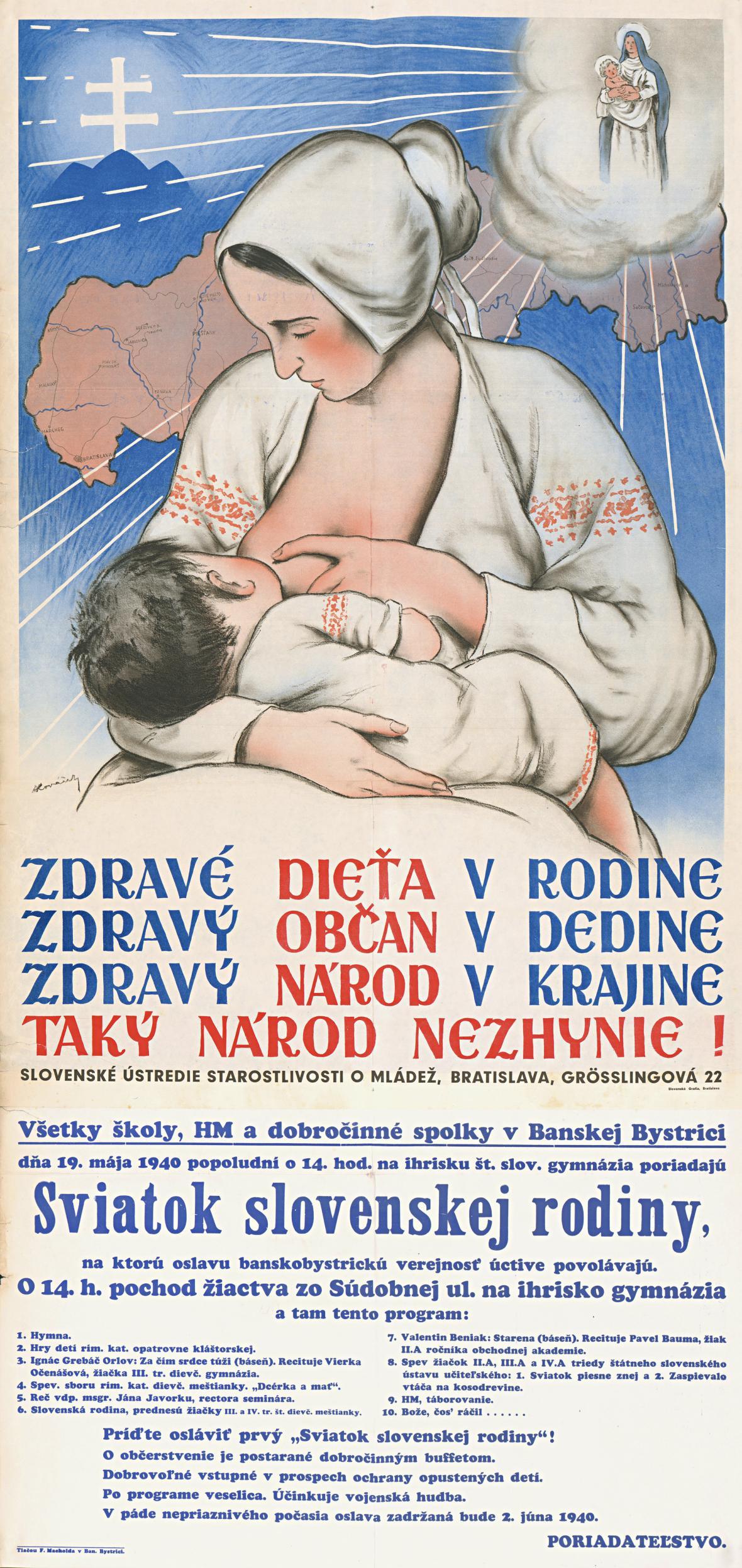 Zdravé dítě v rodině (autor plakátu: Andrej Kováčik), 1940
