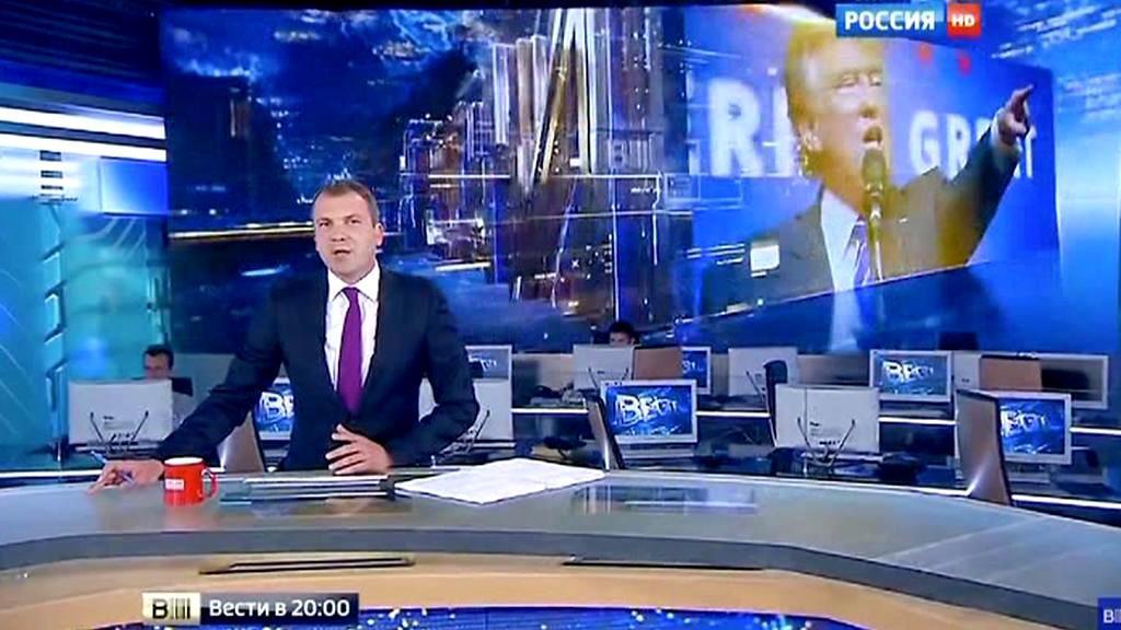 Ruská televize informuje o Trumpovi