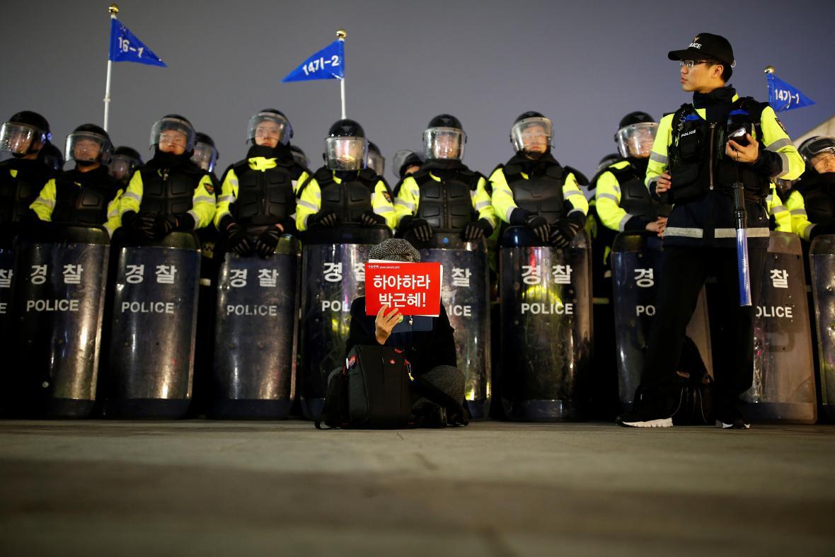 Policejní dohled nad protestem v Soulu