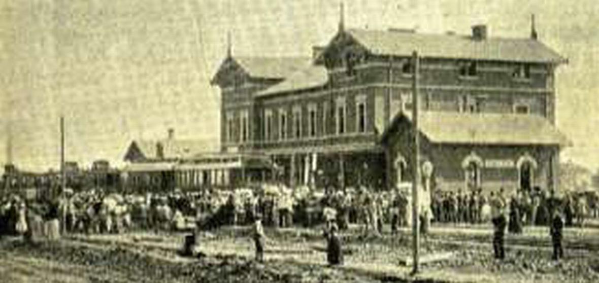 Zahájení provozu na nádraží v Mimoni 16. září 1900