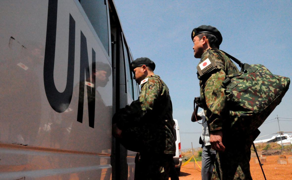 Japonští vojáci v Jižním Súdánu