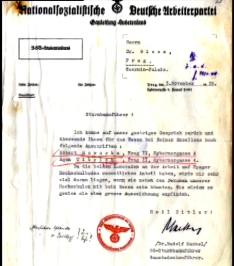 Meckelův dopis osobnímu tajemníkovi K. H. Franka