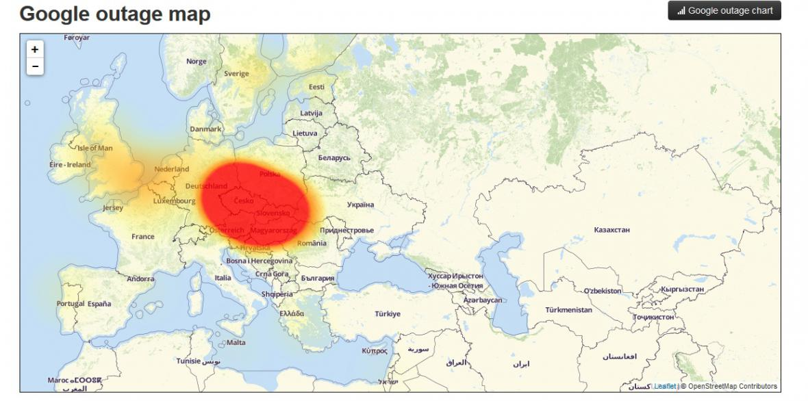 Mapa výpadku Google služeb