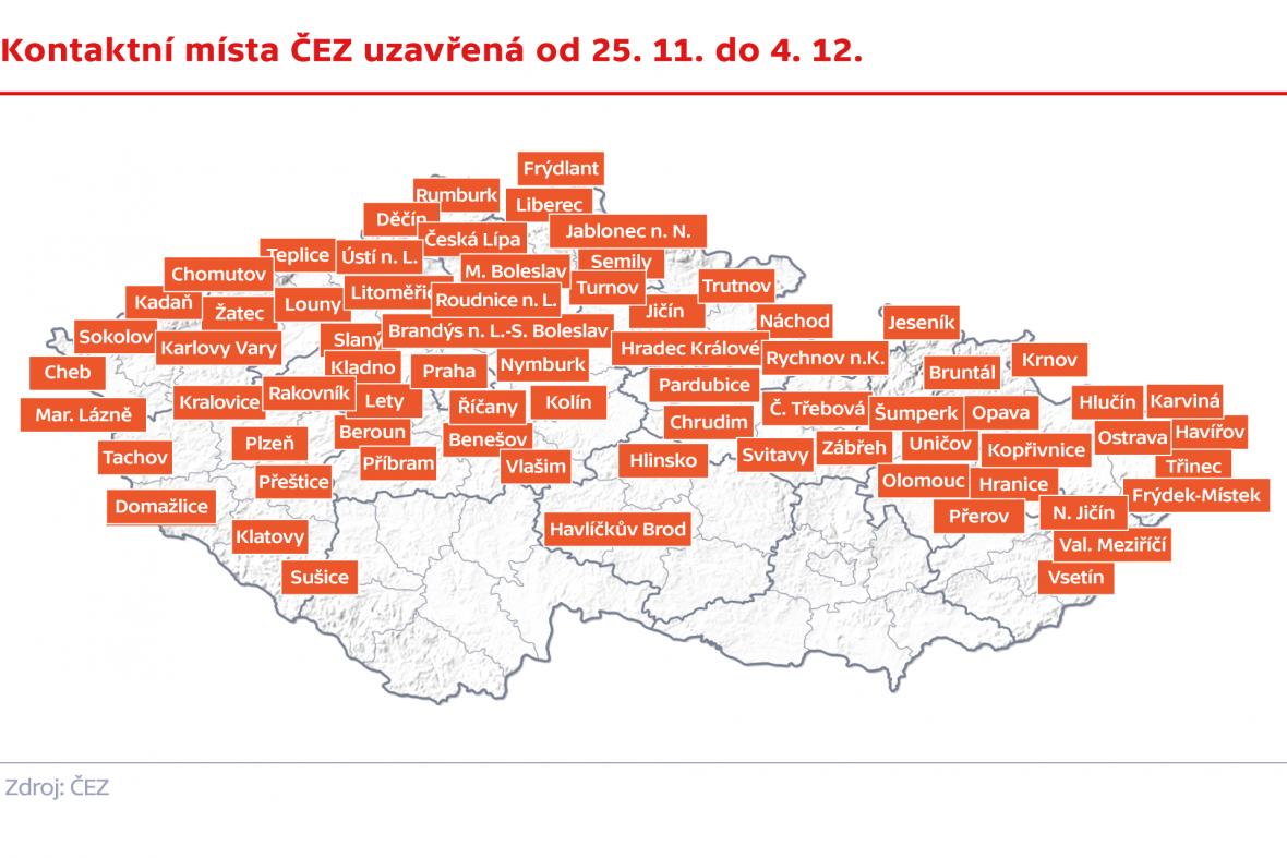 Kontaktní místa ČEZ uzavřená od 25. 11. do 12.