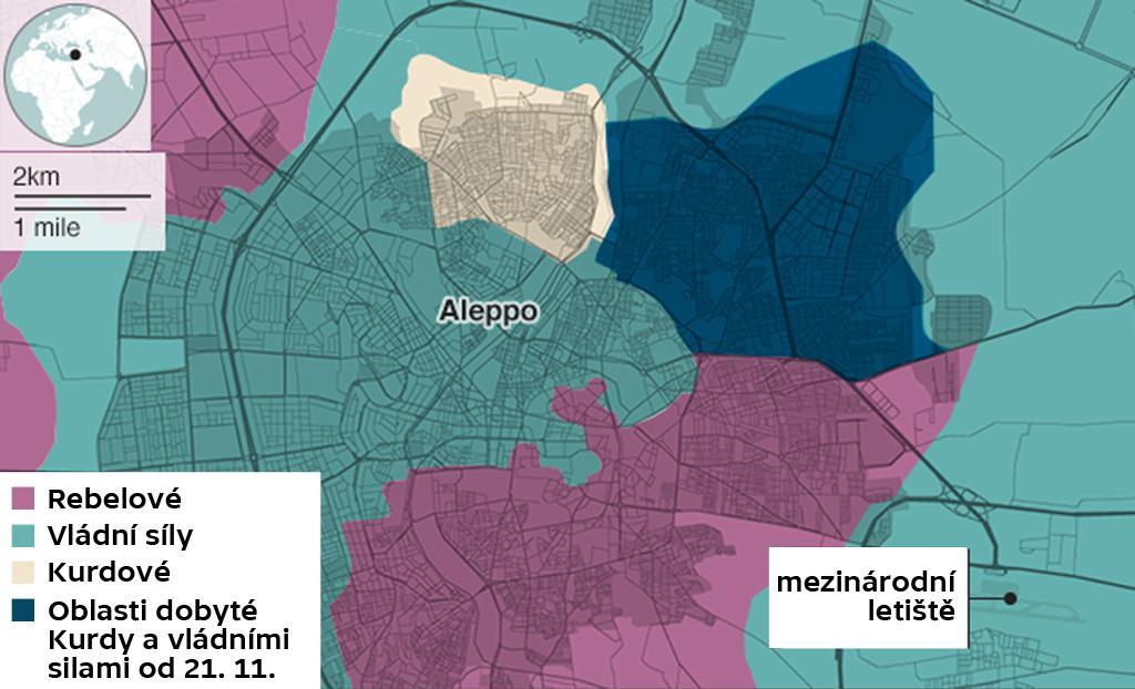 Mapa dobytí Aleppa