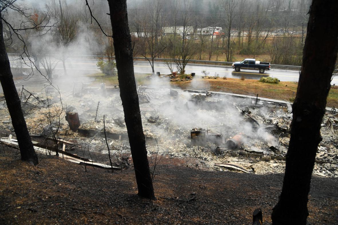 Spáleniště v Pigeon Forge v Tennessee