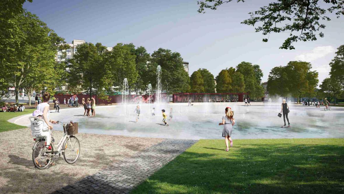 Dominantou parku bude multifunkční plocha