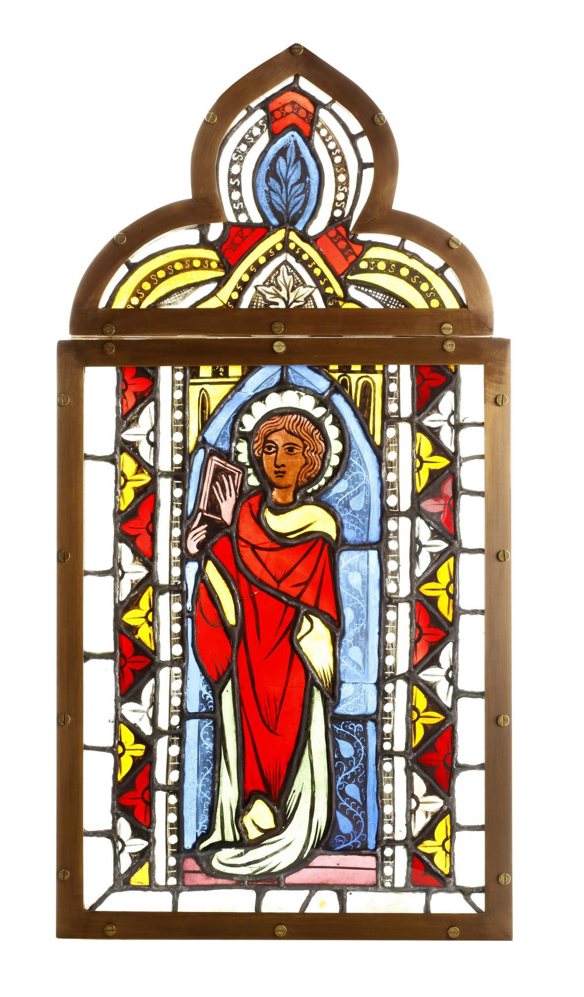 Vitráž s postavou apoštola (z kostela sv. Jakuba v Žebnici, kolem 1340)