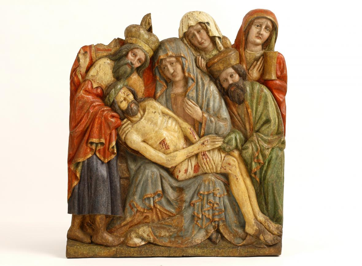 Oplakávání Krista z okruhu Mistra Týnské kalvárie (kolem r. 1420)