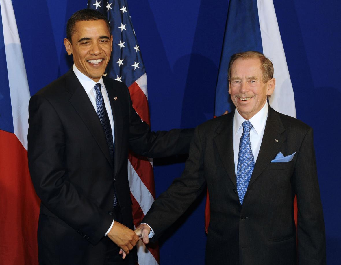 Václav Havel s Barackem Obamou