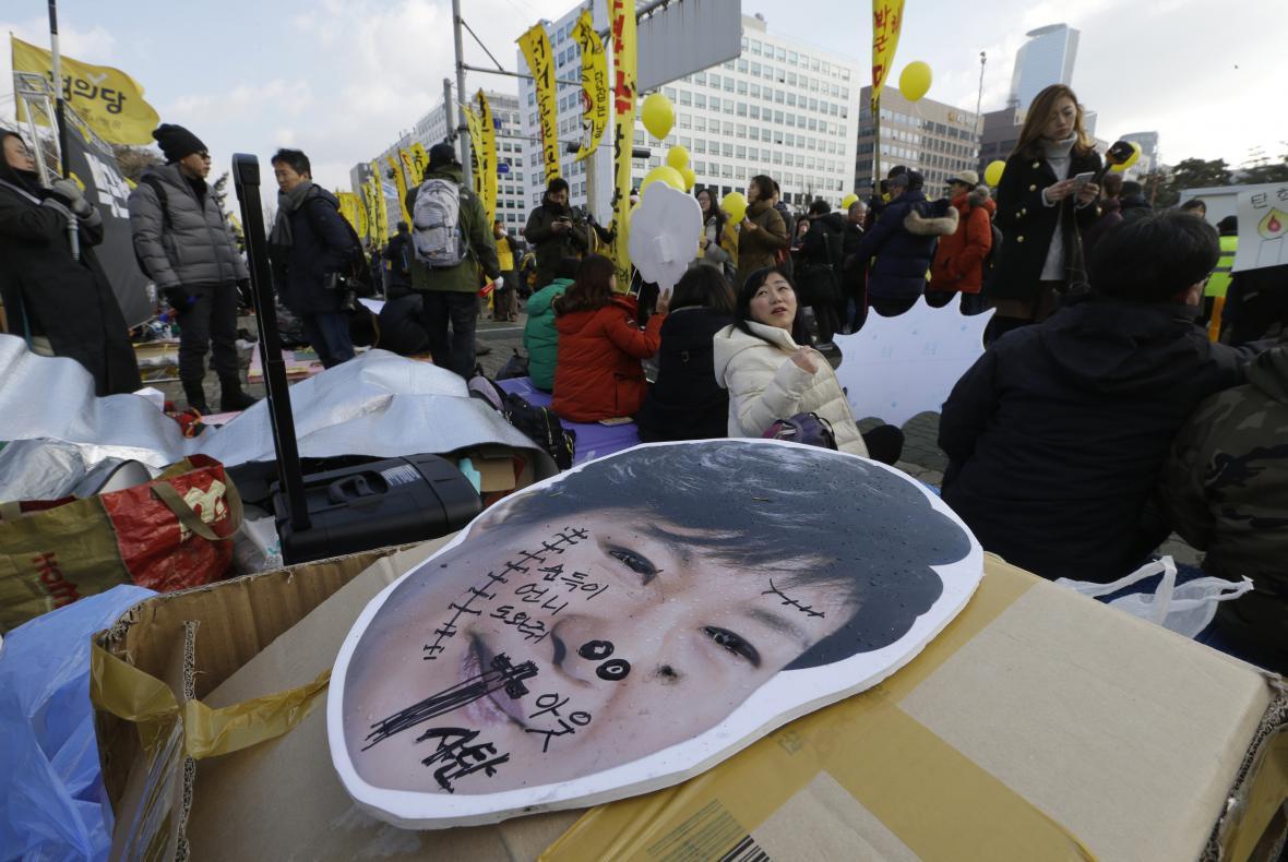 Protest proti Pak Kun-hje