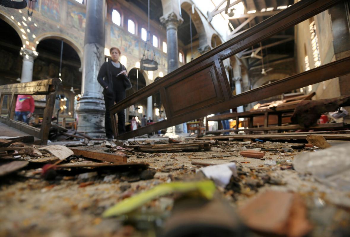 Zničený koptský kostel