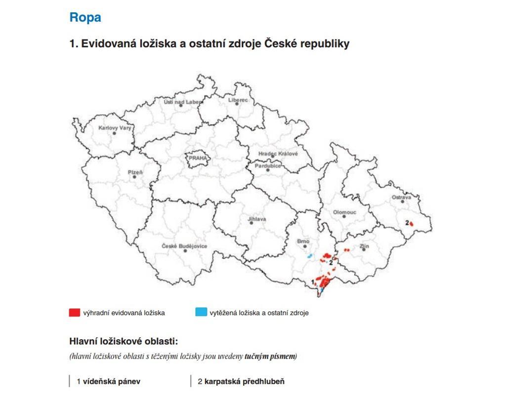 Evidovaná ložiska v České republice
