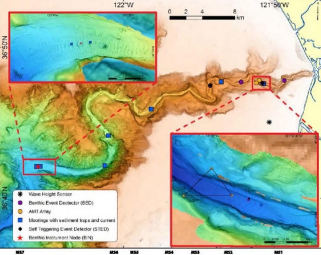 Mapování pohybu podmořských lavin v kaňonu Monterey