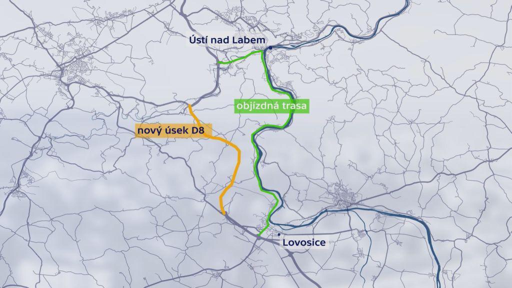 Nový úsek D8 a původní objízdná trasa přes Ústí nad Labem