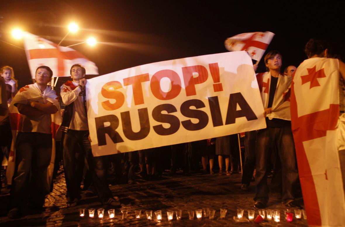 Protesty v Tbilisi proti ruské invazi do Gruzie v srpnu 2008