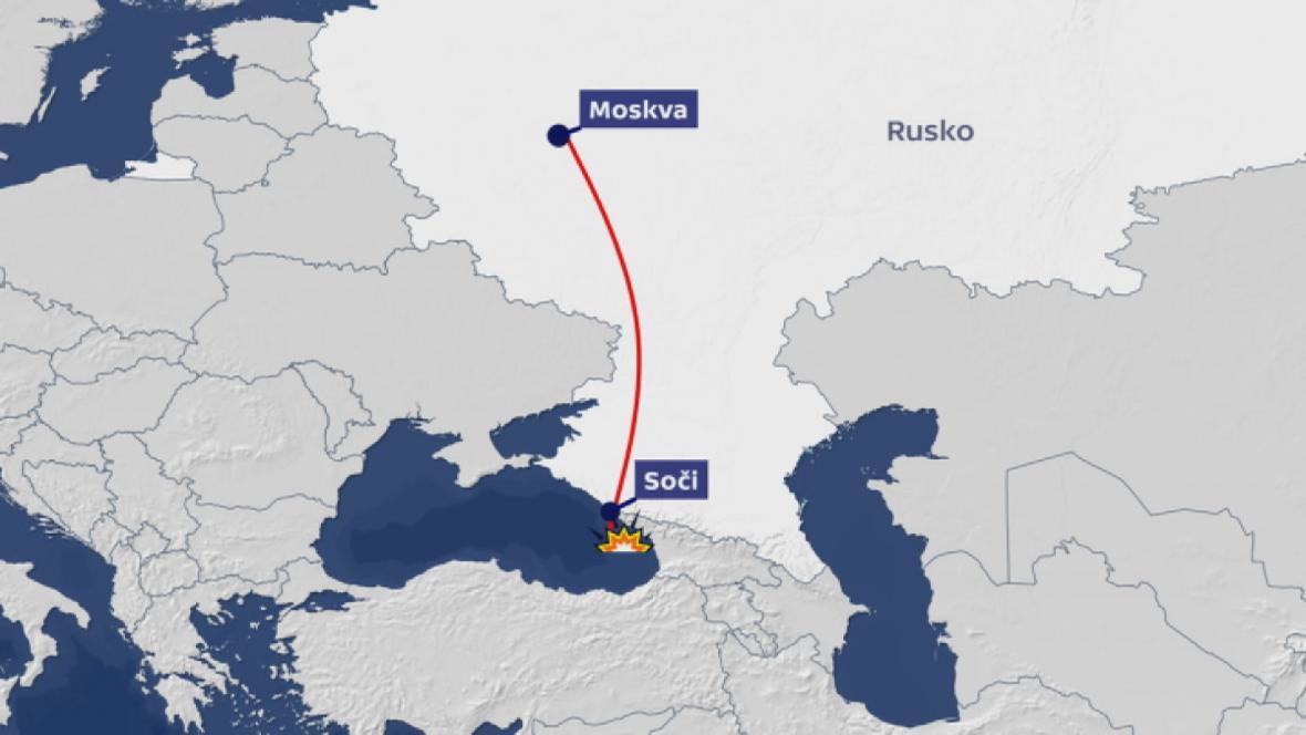 Trasa ruského armádního letounu Tu-154